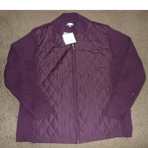 Womens Wine Quilted Sweater Jacket Size 2X NWT